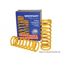 Pair Rear Heavy Duty Yellow Lifted 50mm (+200KG) Coil Springs Defender, Discovery 1 & 2, Range Rover Classic