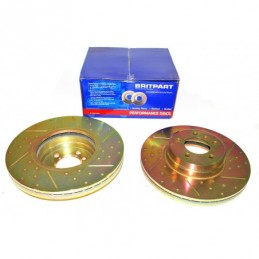 Front Drilled And Grooved  Front Brake Disc (Pair) Range Rover L322 Models 2002 - 2005  -Britpart  Da4609