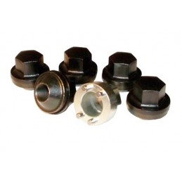 Defender, Discovery 1 and Classic Five Steel Black Finish Locking Wheel Nut Kit & Key www.p38spares.com rover, range, land, disc
