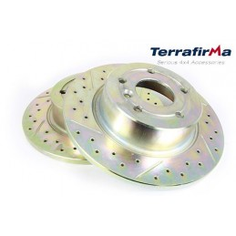 Terrafirma Pair Rear Land Rover Discovery 2 Crossed Drilled & Grooved Brake Discs 1995-2004