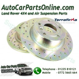Terrafirma Pair Rear Range Rover P38 All Models Crossed Drilled & Grooved Brake Discs 1995-2002 www.p38spares.com  3193 - SDB000