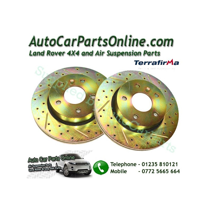 Pair Front Cross Drilled & Grooved Brake Discs Range Rover P38 MKII All Models 1995-2002 www.p38spares.com  1324 - NTC8780 CDG (