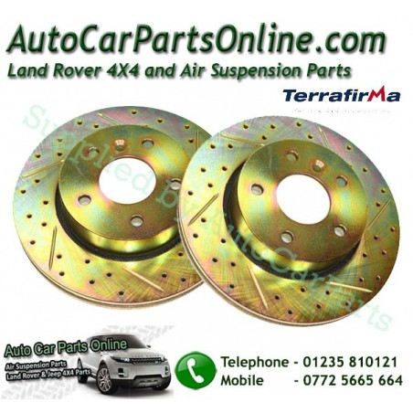 Pair Front Cross Drilled & Grooved Brake Discs Range Rover P38 MKII All Models 1995-2002