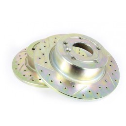 Terrafirma Solid Rear Cross Drilled And Groved Brake Disc (Discovery 2 And Range Rover P38A) - All Models - supplied by p38spa