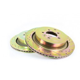 Terrafirma Vented Rear Cross Drilled And Groved Brake Disc (Discovery 4.4 V8 & Range Rover Sport) - X2 - supplied by p38spares